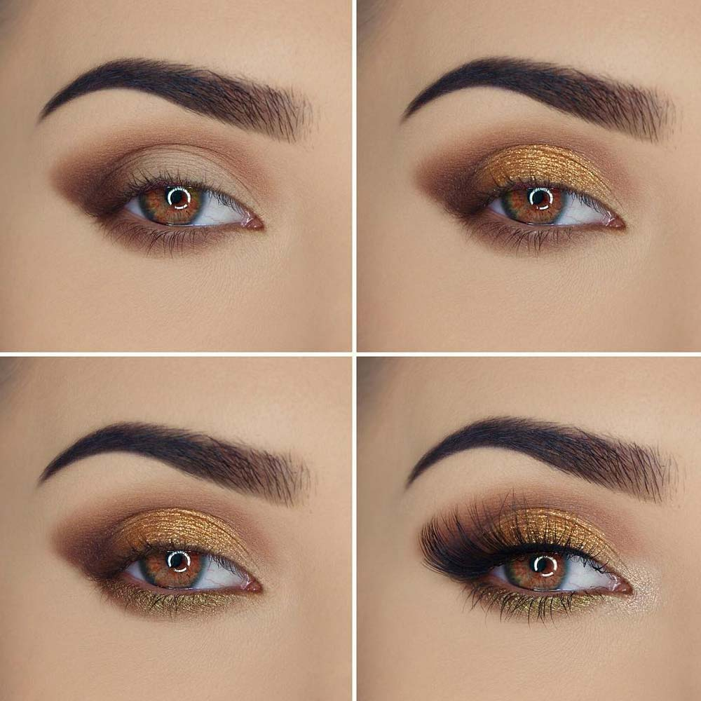 Brown and Gold Makeup for Brown Eyes
