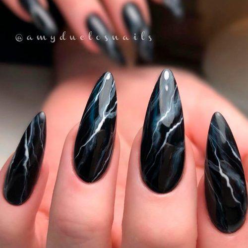 Marble Nail Design #blacknails #marblenails