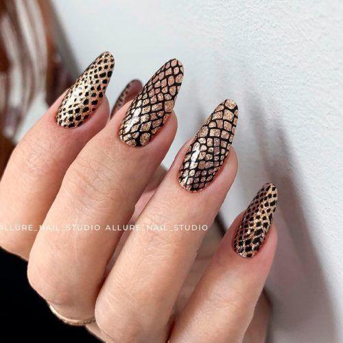 Snake Skin Nail Art #glitternails #snakeskinnails