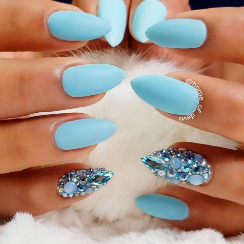 Rhinestones Nails Design #mattenails #rhinestonesnails