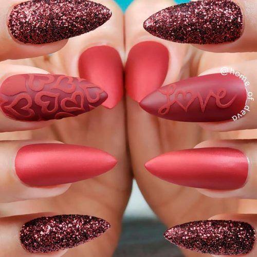 3-D Nail Art With Hearts #mattenails #glitternails