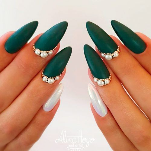 Matte Nail Art With Pearls #mattegreen #pearlsnails