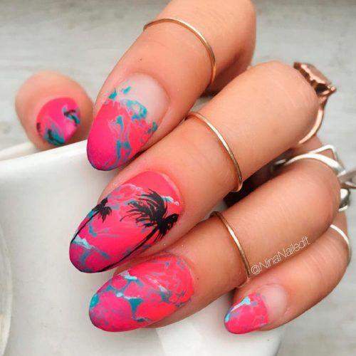 Summer Nails Designs #mattenails #tropicnails