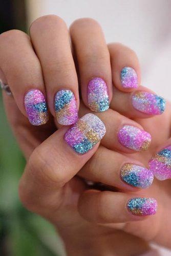 Rainbow Glitter Nails Designs