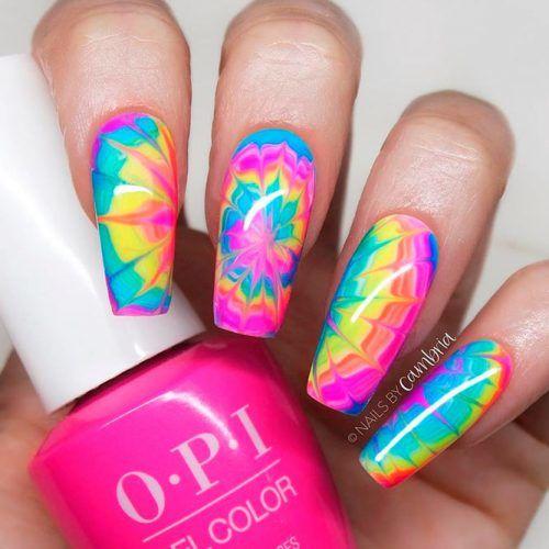 Water Marble Nail Art #watermarble #rainbownails