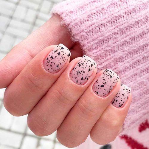 Speckled Nail Art #shortnails #specklednails
