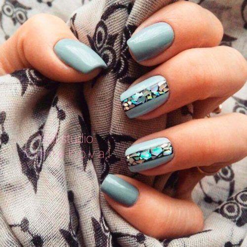 Soft Gray Blue Nails Art #shortnails #greynails