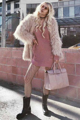 Pink Sweater Dress With Fur Jacket #furjacket