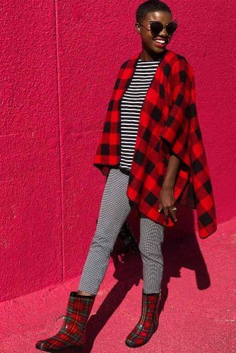 Plaid Cardigan With Print Pants Outfit #printpants