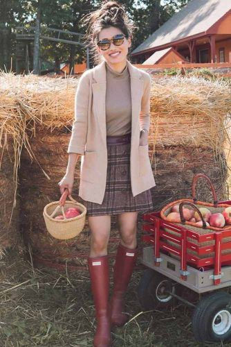 Plaid Skirt With Jacket Outfit #redrainboots #plaidskirt