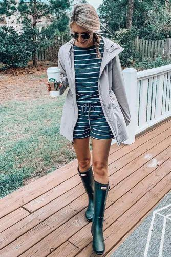 Striped Playsuit With Parka Jacket #parka