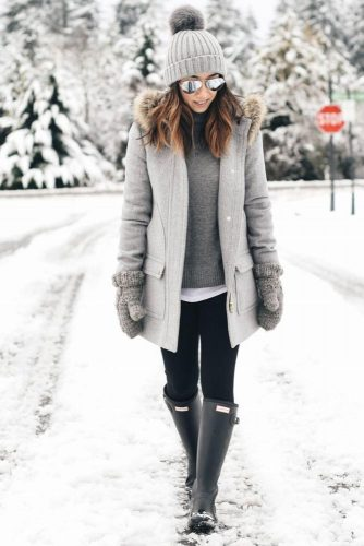 Popular Idea for Winter Outfits with Rain Boots