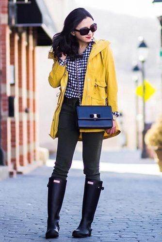 Yellow Parka With Jeans Outfit #plaidshirt