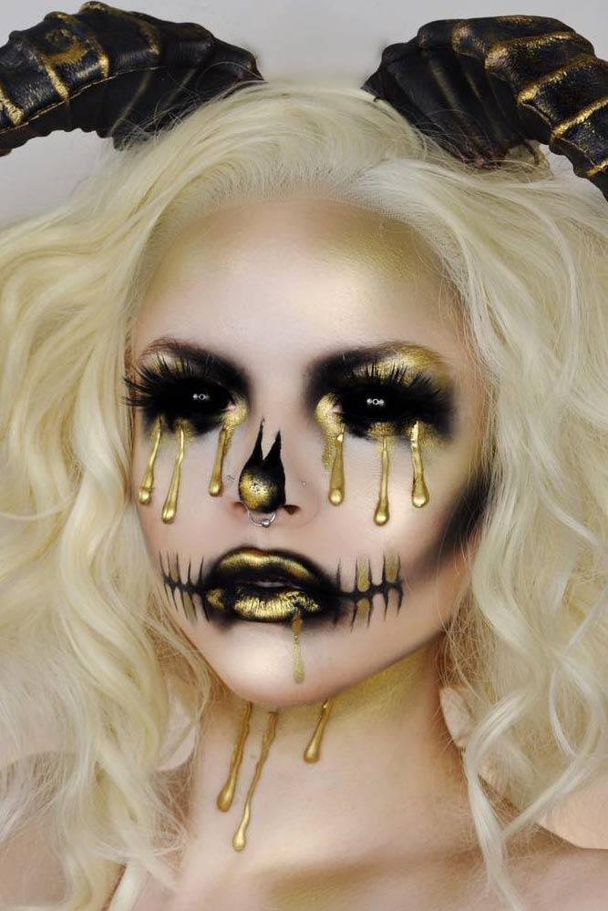 Black And Gold Demon Makeup #golddemon