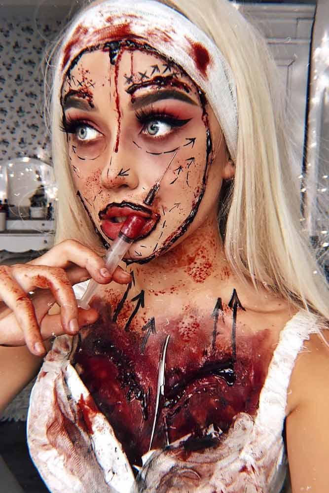 Plastic Surgery Halloween Makeup #surgerymakeup