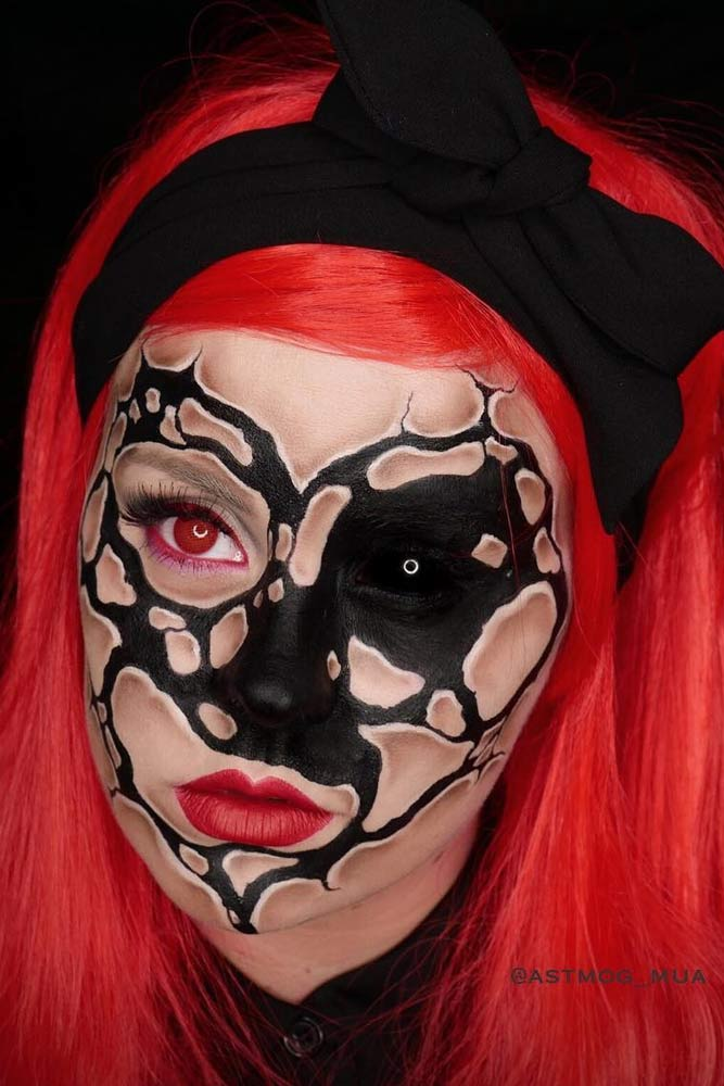 Pink and Black/White Broken Face Art for Halloween