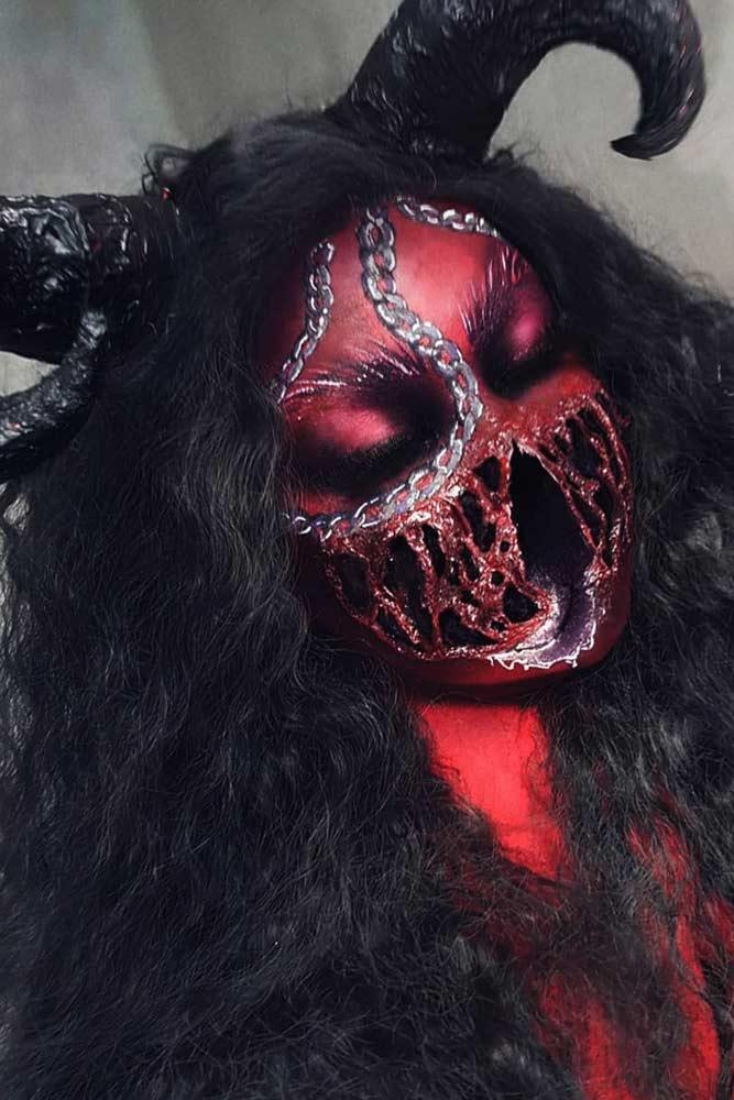 Scary Devil Halloween Makeup #devil #monster