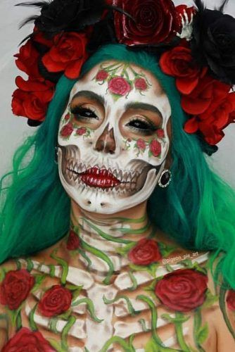 Flowers Skeleton Makeup Idea #flowersskeleton #skullmakeup