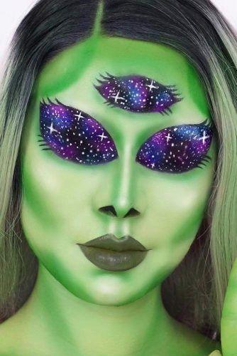Galaxy UFO Halloween Makeup Idea #ufomakeup #galaxymakeup