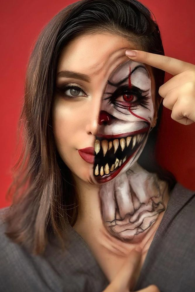 Scary Clown Halloween Makeup #halfface
