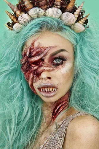 Creepy Mermaid Halloween Makeup #mermaidmakeup