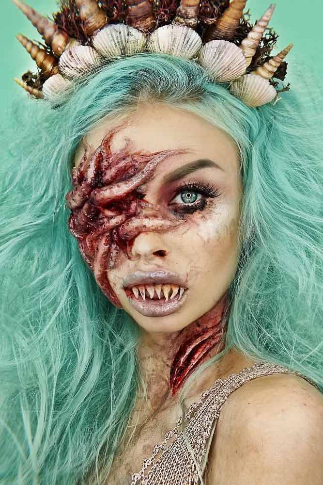 Creepy Mermaid Halloween Makeup #mermaidmakeup