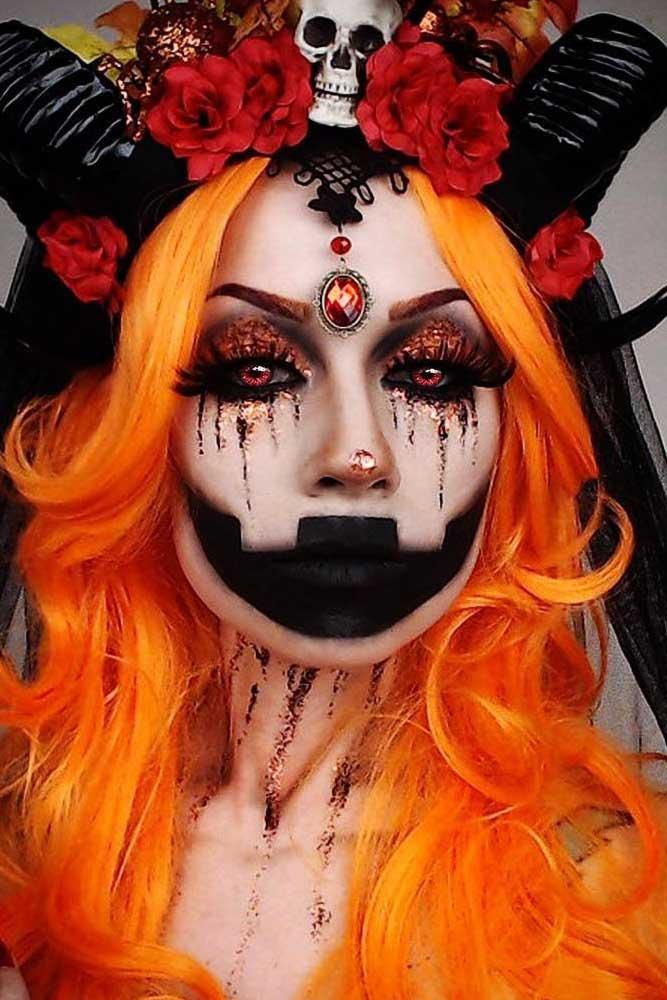 Demon And Pumpkin Makeup Idea #demon #pumkin #clown