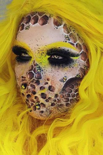 Queen Bee Halloween Makeup #queenbee #3dmakeup