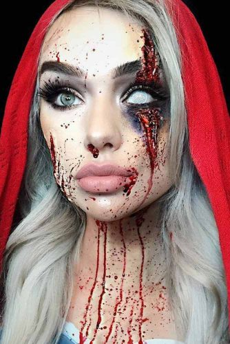 Bloody Red Riding Hood Makeup Idea #horror #redridinghood