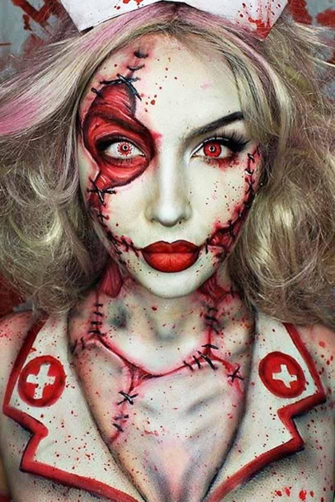 Twisted Nurse Makeup Idea #bloody #nurse