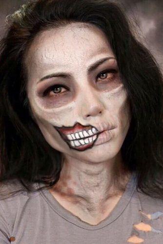 Zombie Girl Halloween Makeup #zombiegirl