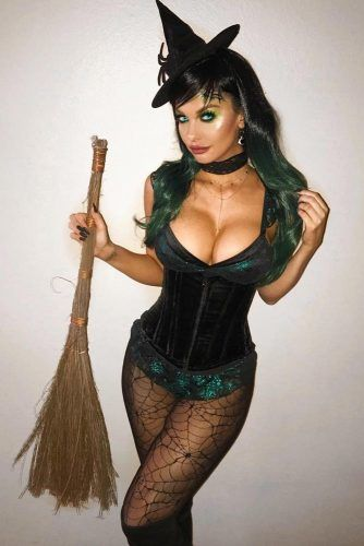 Sexy Witch Costume #webtights #witchhat