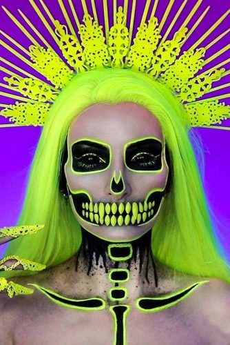 Neon Skeleton Makeup Idea #neonskeleton