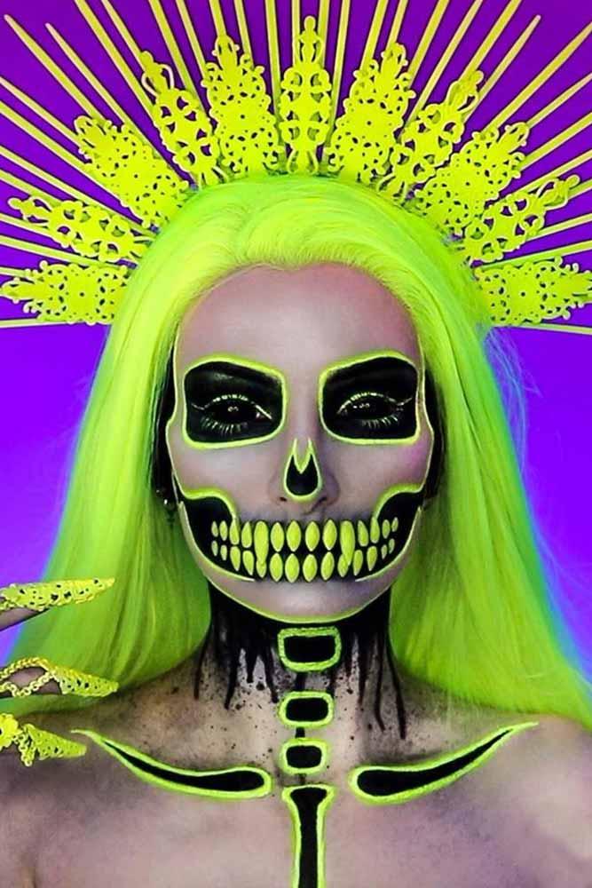 Neon Skeleton Makeup Idea #neonskeleton