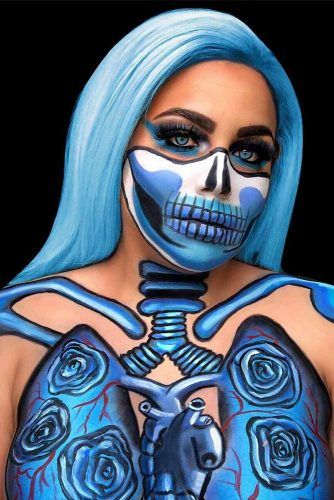Blue Skeleton Art Idea #blueskeleton #bodyart