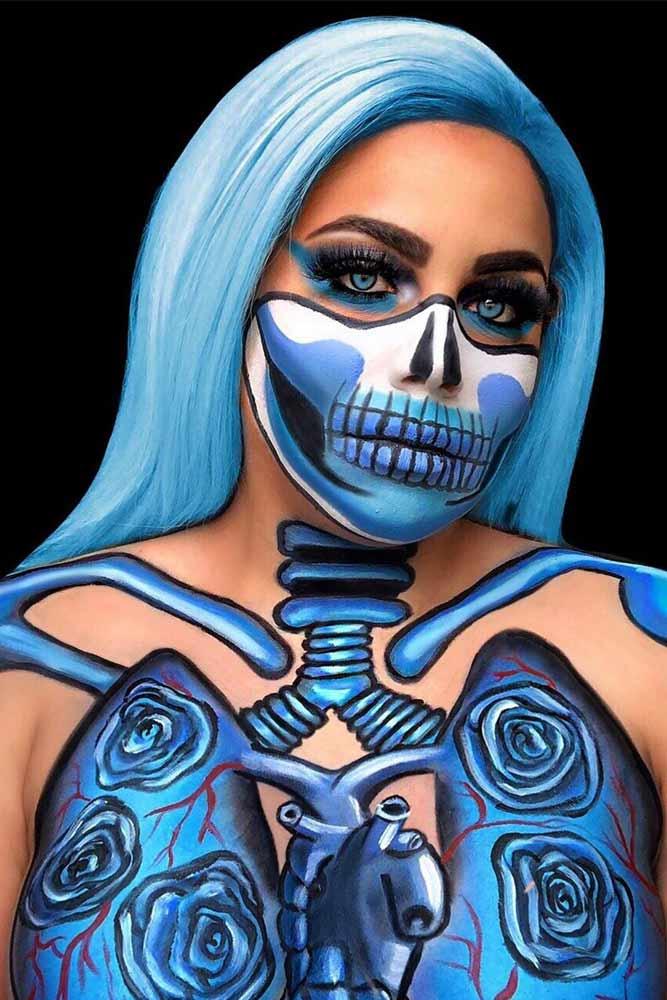 Blue Skeleton Art Idea #blueskeleton #bodyart