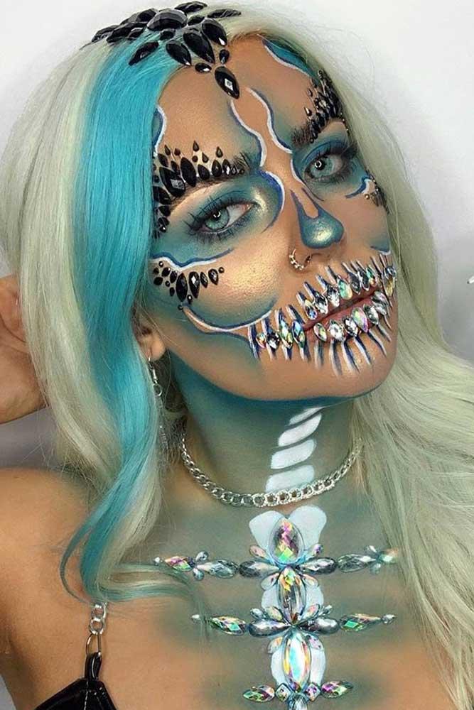 Blue Glam Skeleton Makeup #blueskeleton