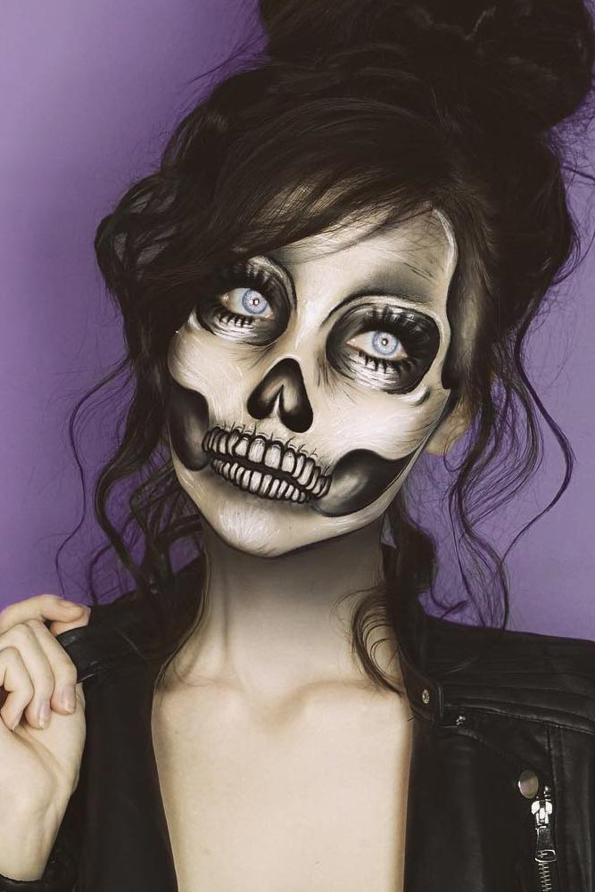 Classy Skeleton Makeup Idea #bones #classyskeleton