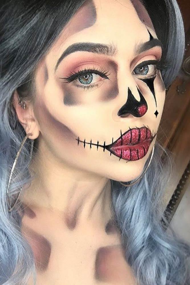 Clown Skeleton Makeup Idea #clown #redglitter