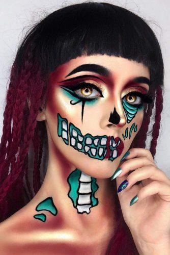 Turquoise Skeleton Makeup Idea #bones #turquoise