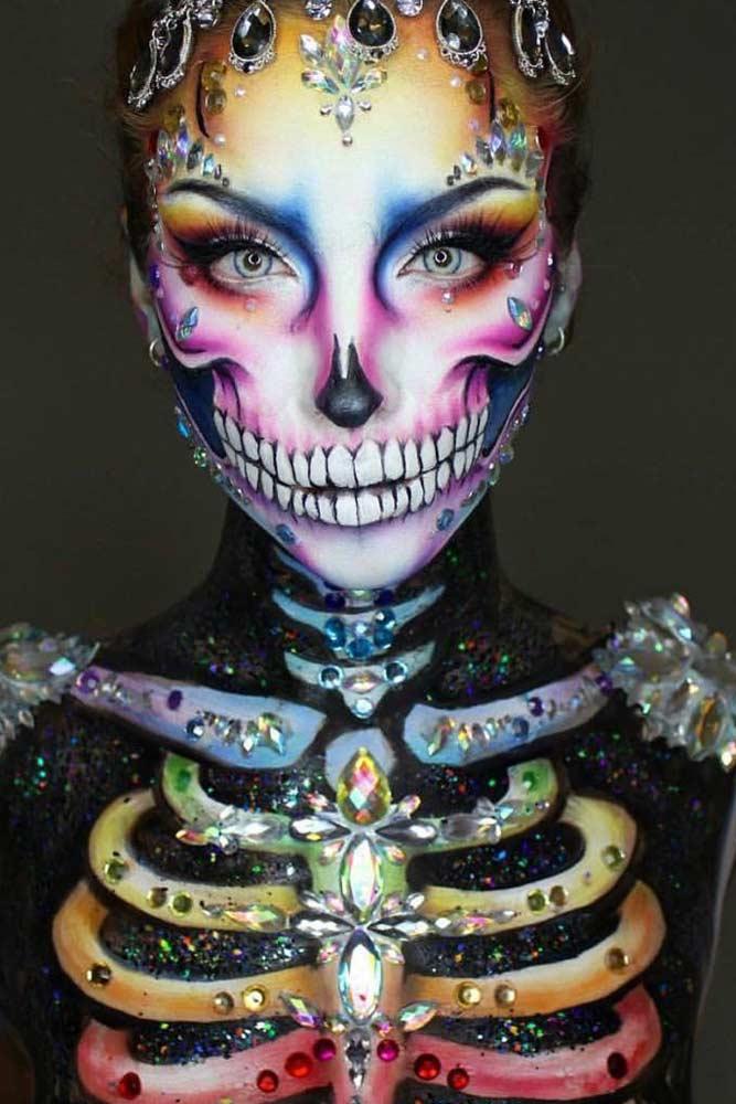 Colorful Skeleton Makeup Idea #crystals #colorskeleton