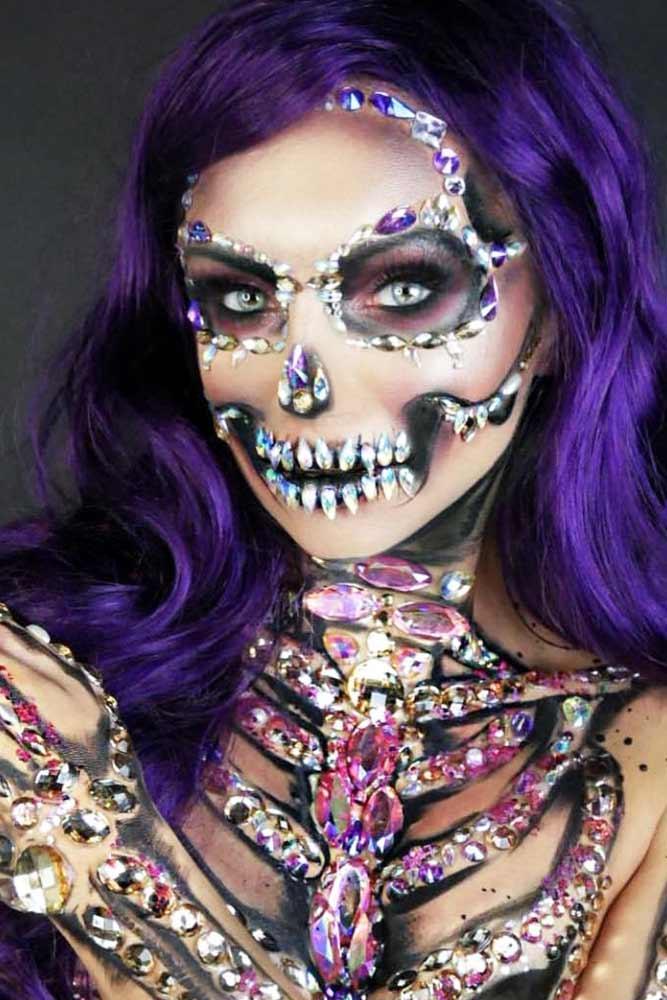 Crystal Skeleton Makeup #crystal #faceart