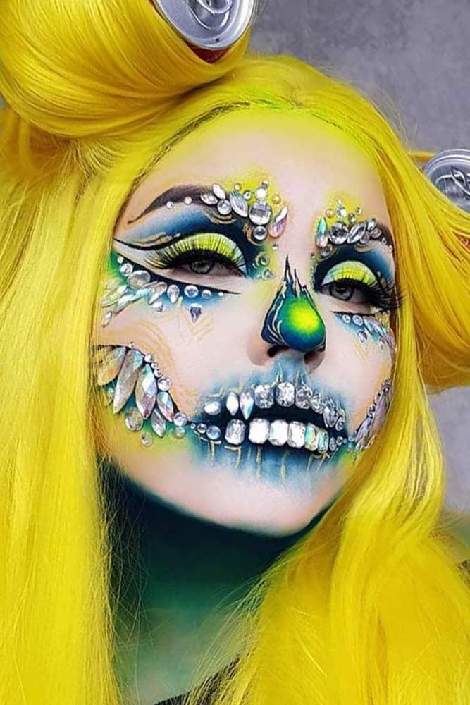 Bright Glam Skeleton Makeup #crystalsmakeup
