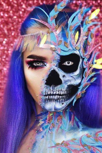 Fantasy Half Face Skeleton Makeup Idea #fantasyskeleton