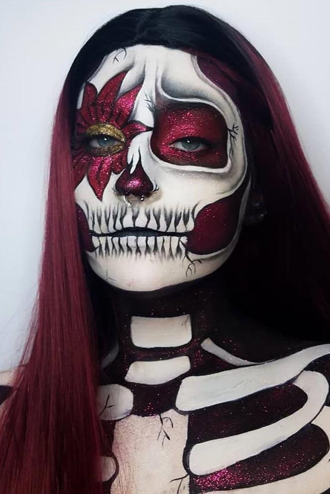 Floral Skeleton Makeup Idea #floralart #glitter