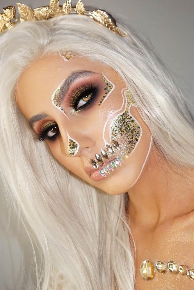 Gold Crystals Skeleton Makeup #goldskeleton