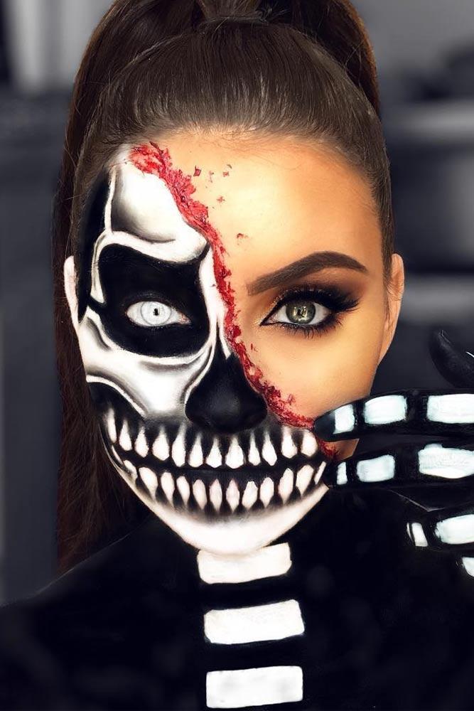 Half Face Black White Skeleton Look #halfface #faceart