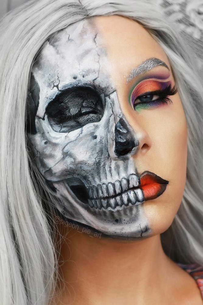 Classic Half Face Skeleton Makeup #halfface #classicskeleton