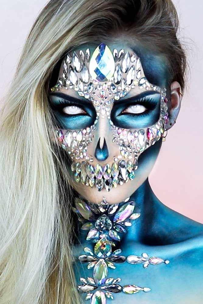 Crystals Scary Skeleton Makeup Idea #crystals #sparklyskeleton