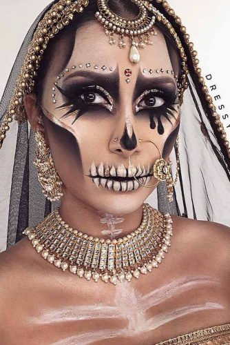 Indian Princess Skeleton Makeup #glitter #skeletonprincess